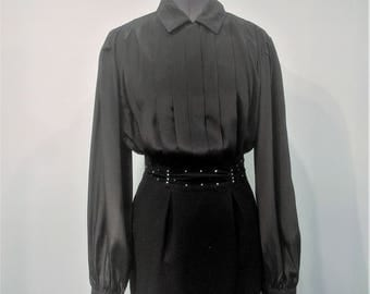 Vintage 1980's Black Kristen 100% Georgette Polyester Pleated Front Office Secretary Blouse