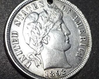 Love Token 1892 Silver Barber Dime  US  Genuine
