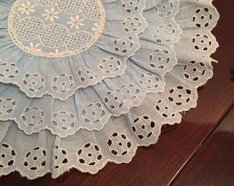 Table Doily ~ Blue and White  ~ Handcrafted ~ Round Doily ~ Set of Two ~ Eyelet Edge ~ Three Tiers ~ Table Scarf ~ Vintage