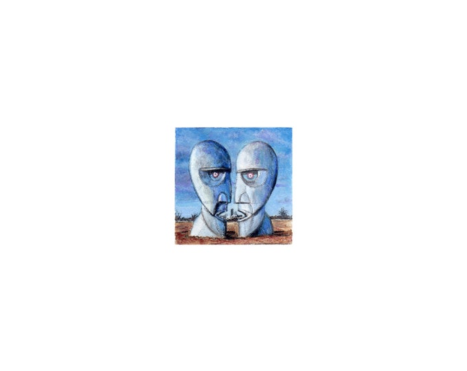 """Print of miniature painting of the Pink Floyd Album.  1 1/4 x 1 1/4"""" print of original Pink Floyd painting on 5"""" square german etching paper"""