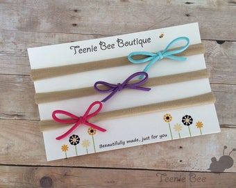 Tiny Bow Headbands - Suede Bow Headband - Suede nylon headband - Dainty Suede Bow - Skinny suede bow - Petite suede bow - nylon headband set