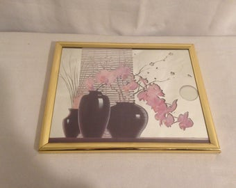 Mirror old drawing Orchid + Vintage Photo holder!