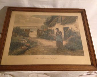 """Lithograph """"The Fishermans Daughter"""" English enhanced color Ernest Walbourn number 1683"""