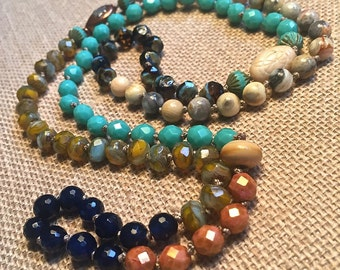 Hand knotted gemstone necklace, long, layering hand knotted necklace, bohemian style, artisan, hand made, deep blue & bright turquoise