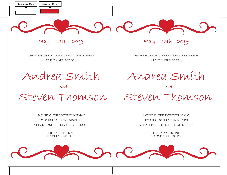 DIY Wedding Invitation Template, Red Hearts Design, Editable Text ...