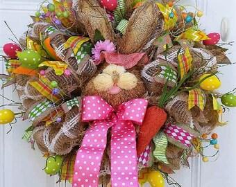 Easter wreath etsy easter wreath spring wreath lg bunny wreath easter decor bunny door wreath negle Choice Image