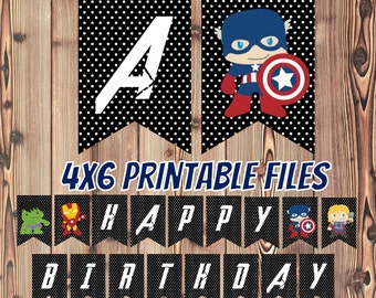 Avengers Birthday Banner - Super Hero Birthday Banner - Printable Files - Instant Download