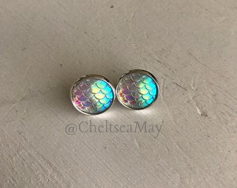 Iridescent white mermaid fish scale stud earrings stainless steel