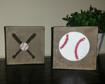 Baseball and Bat Canvas Art
