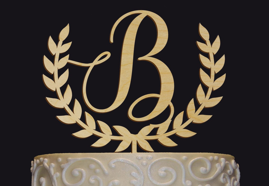 Personalized Monogram Wedding Cake Topper Rustic Chic Name