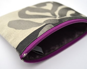 Beautiful hand made pouch - for knitting accessories, make up or other small items. Silver, gray, purple, zipper, lined, recycled.