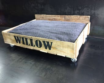 Personalized Pallet Dog Bed with steel casters and steel letters