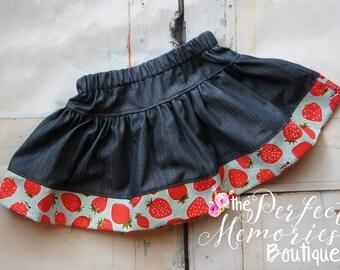 Girls Strawberry Skirt   Girls Skirt   Baby Girl Skirt   Strawberries   Summer Skirt   Girls Clothing   Baby Girls Clothing