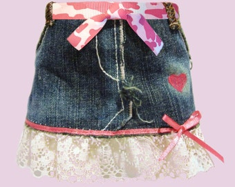 For 18 inch American Girl Doll Clothes - Hand made Denim Skirt