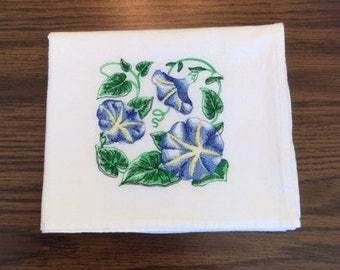 Blue Morning Glories Embroidered  on Flour Sack Towel