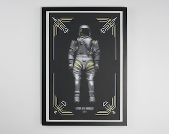 "Spacesuit, Litton RX-2 Hardsuit - Space Exploration Poster - 12.5 x 19"" - Screen Printed"