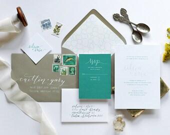Modern Calligraphy Wedding Invitations: Printed Invites, Elegant Wedding Invitations, Emerald Personalized Wedding Invites, Custom Colors