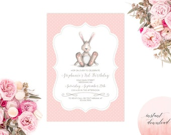Printable Instant Download Bunny Invitation, printable invitation, bunny birthday, birthday invitation, invite