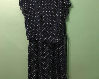 Jenny Dress- blue polka dot dress
