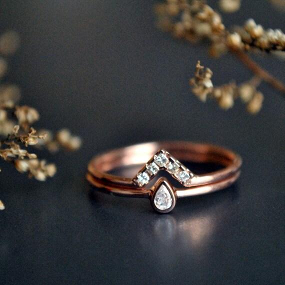 Wedding Ring Set. 14K Rose Gold Pear Baby Diamond Bridal