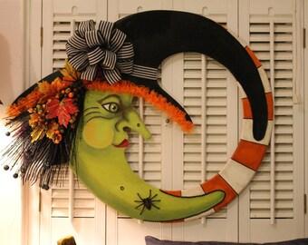 Handmade Handpainted Halloween Witch Wreath
