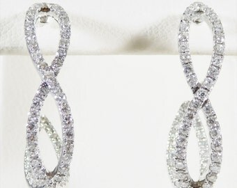 Sparkling 14k White Gold Diamond Infinity Earrings