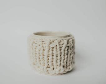 Tea/Coffee Mug Cozie - Knit White