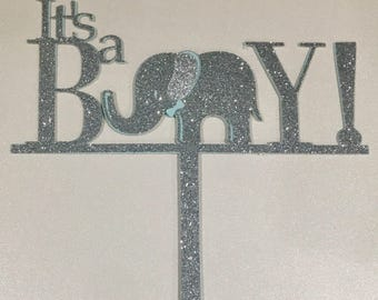 It's a boy elephant cake topper, elephant cake topper, its a boy cake topper, baby shower cake topper
