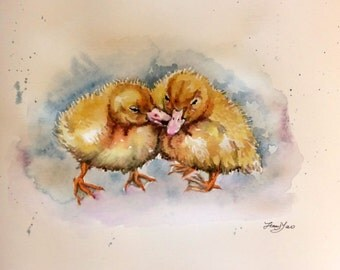 Original Watercolor painting, Little ducklings, 1703051 , yellow, animal