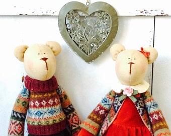 Tilda Couple of Bears Doll Rag Doll Cloth Doll Soft toy Fabric Stuffed Doll Baby Gift for Christmas decor Toy Kids room decor Home decor