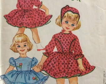 McCall's 2372 girls dress with attached crinoline and kerchief size 1 vintage 1950's sewing pattern