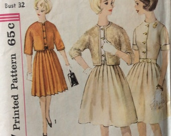 Simplicity 4565 misses dress w/pleated skirt and jacket size 12 bust 32 vintage 1960's sewing pattern