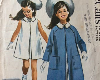 McCall's 7170 vintage 1960's girls dress & coat sewing pattern size 8