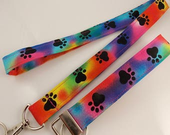 Dog Lanyard Paw Print Lanyard Vet Lanyard Teacher Lanyard Rainbow Lanyard Cat Lanyard Cat Paw Print Key Holder ID Badge Holder Dog Key Fob