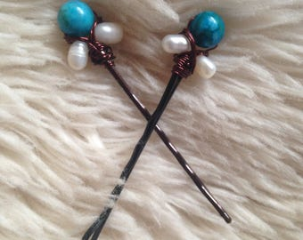 Deep Turquoise and Pearl Hair Pins
