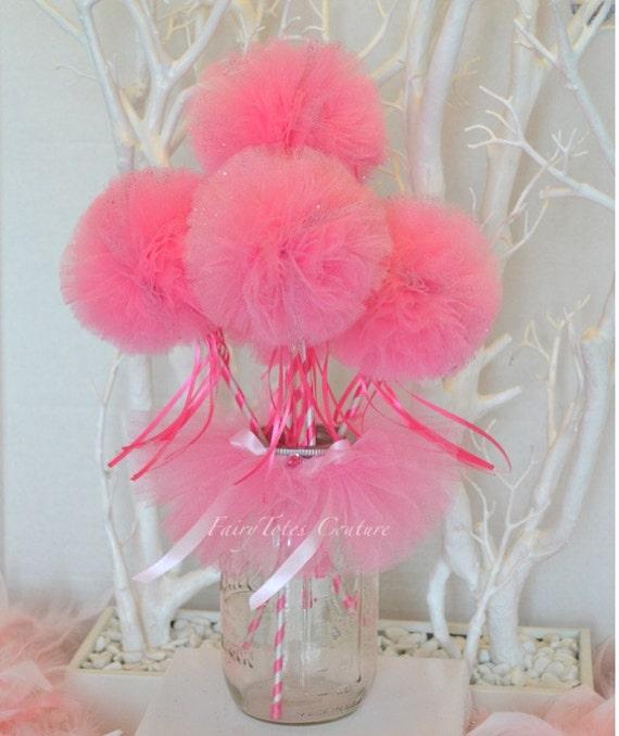 Items similar to pink mason jar tutu tulle wand