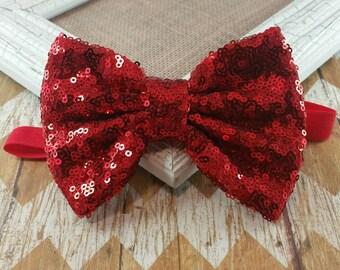 Red sequin bow headband, red bow headband, holiday headband, red sequin headband, girls headband, baby headband, big bow headband, headband