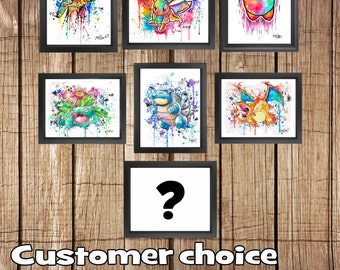 Any 7 Prints - Customer choice - J2ART Mega print bundle Nintendo art Pokemon, Kirby, Final Fantasy moogle cloud