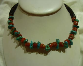 G40 Vintage Red and Blue Turquoise Necklace.