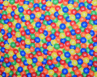 M&M's Fabric, Flannel Fabric, Multi Colored Fabric, Candy Fabric