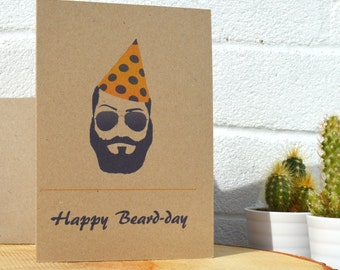 Happy Beard-Day - Birthday Card for your bearded brother, father, cousin, nephew or friend. Eco Friendly | Beard | Hipster | Recycled