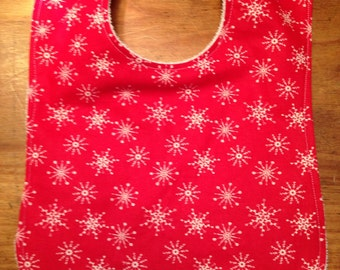 Xmas SNOWFLAKE Baby Bib Red or Cream