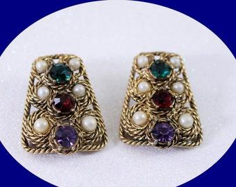 Vintage Earrings  Art Deco Vintage  Clip On Earrings Vintage Jewelry Costume Jewelry