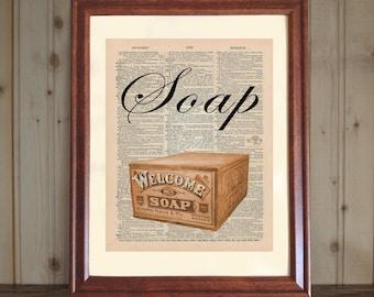 Soap Dictionary Print, Bathroom Wall Art, Bath Print, Soap Wall Art, Old Fashioned Bathroom Decor, Soap Print on 5x7 or 8x10 Canvas Panel