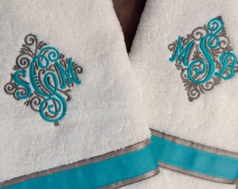 Monogrammed Bath Towel Set/Choice of two towels/Bridal Shower Gift/Ribbon Adorned/Wedding Gift Idea/Anniversary Gift Idea/Bath Towel Set