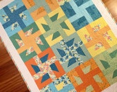 """Modern Handmade windmill pinwheel quilt blanket 38"""" x 50"""".  Multicolored quilting cottons.  Baby quilt blanket, toddler quilt, playmat."""