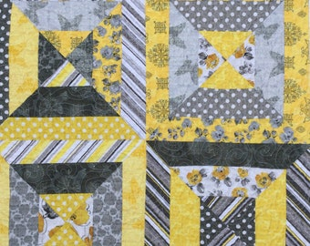 "Baby quilt Modern Grey and yellow baby blanket quilt, throw, car seat quilt play mat.  38"" square.  Soleil fabric collection by Windham fabr"