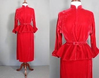 Red Velvet Suit.....50's Red Velvet Woman's Suit