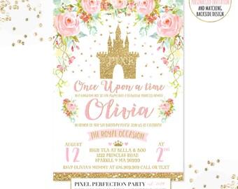 Princess Birthday Invitation Pink Gold Princess Castle Invitation Cinderella Castle Invitation Princess Party Royal Princess Party