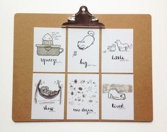 Inktober Postcard Set No4 -  My illustrations for Inktober 2016